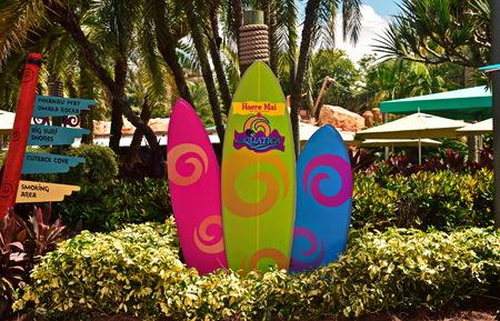 Orlando, Florida. September 21, 2018. Colorful Surfboards at Seaworld Aquatica.