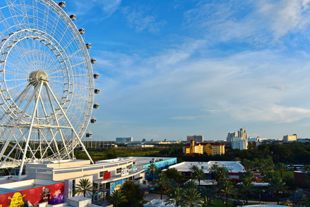 Orlando, Florida. September 27, 2018. Panoramic aerial view of Orlando Eye, Convention Center and Hotels in International Drive Drive.