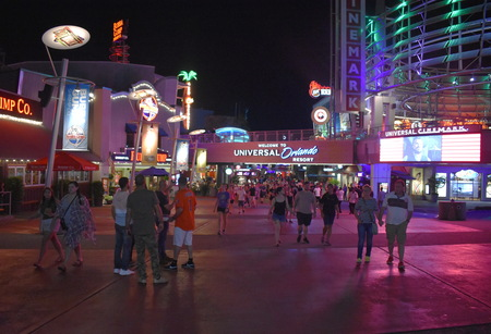 Orlando, Florida. October 17, 2018. People walking and leaving Citywalk at Universal Studios.