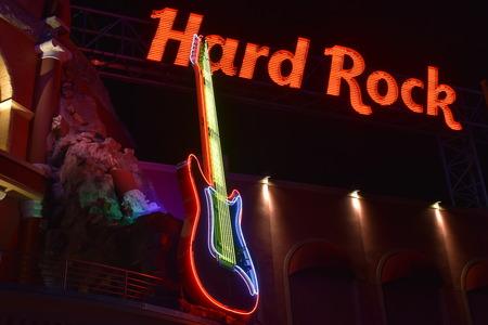 Orlando, Florida. October 17, 2018 Red Hard Rock cafe sign and colorful guitar in Citywalk Universal Studios. Redakční