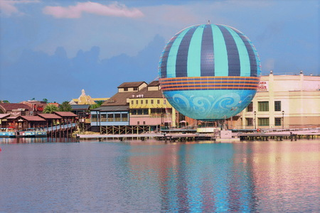 Orlando, Florida USA; July 27, 2018 Disney Springs Lake view, Air Ballon, Orlando, Florida