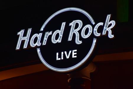 Orlando, Florida. October 17, 2018 Top view Hard Rock Live Sign logo at Citywalk Universal Studios Orlando,