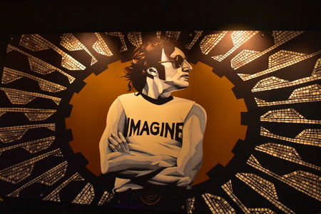 Orlando, Florida. October 16, 2018. Wall of John Lennon at Hard Rock Hotel.