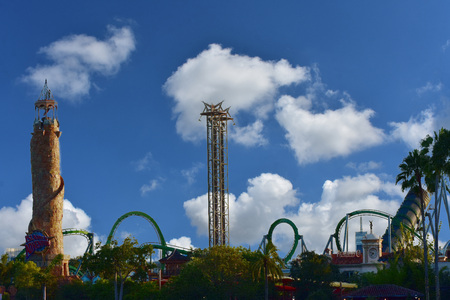 Orlando, Florida. October 19, 2018 Panoramic view of Island of Adventure on cloudy blue sky background.