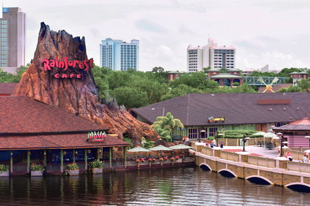 Orlando, Florida, USA; July 29, 2018 Disney Springs Waterview, Rainforest Cafe, Hotel Plaza Boulevard hotels background, Orlando, Florida