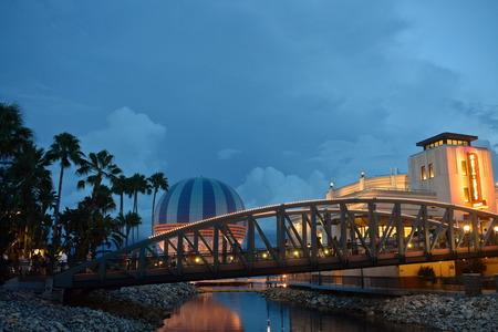 Orlando, Florida; August 21, 2018 Palms, Bridge, colorful air balloon and Art Deco style Italian restaurant, in Lake Buena Vista.