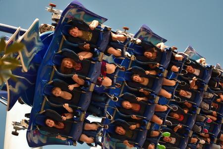 Orlando, Florida. September 09, 2018 Amazing Manta Roller Coaster at Seaworld Theme Park.