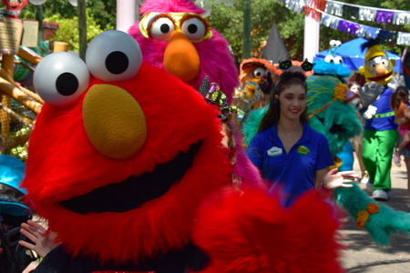 Tampa, Florida. September 30, 2018 Elmo and friends parading on the street in Bush Garden Tampa Bay