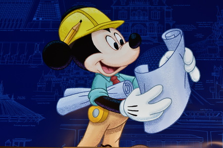 Orlando, Florida. September 29, 2018. Mickey planning Theme Park construction in Lake Buena Vista area.