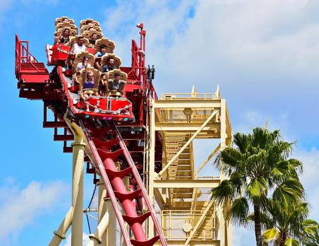 Orlando, Florida. September 21, 2018. People enjoying Hollywood Rip Ride Rockit at Universal Studios Theme Park. Redakční