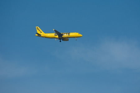 Orlando, Florida. September 5,2018. Yellow airplane from Spirit Airlines, at Orlando Airport. Editorial