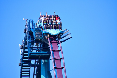 Orlando, Florida. October 13, 2018. People having fun on Mako Rollercoaster at Seaworld Theme Park.