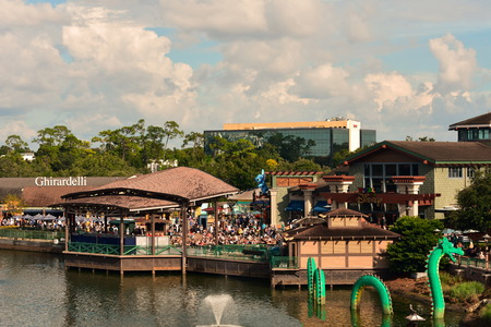 Orlando, Florida. October 06, 2018. Beatiful Disney Springs view at Lake Buena Vista Area. Travel Concept Postcard.