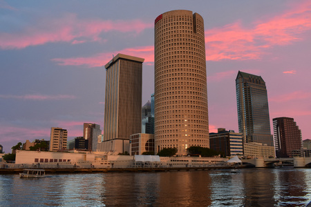 Tampa, Florida. October 06, 2018. Downtown Skyscrapers on colorful sunset background.