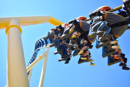 Tampa, Florida. October 25, 2018 Excited people, some shouting, during ride Montu Roller Coaster at Bush Gardens Tampa Bay.