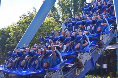 Orlando, Florida. October 19, 2018 In Manta Rollercoaster you may find yourself wanting more time whizzing enjoying palm trees and waterfalls at Seaworld
