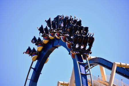Tampa, Florida. October 25, 2018 Incredible turn in amusement Montu Rollercoasterat Bush Gardens Tampa Bay.