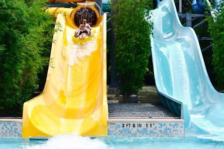 Orlando, Florida. October 26, 2018. Nice people having fun slide water ride at Water Park in International Drive area.