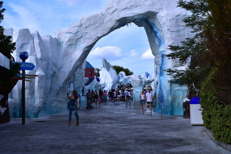Orlando, Florida. October 19, 2018 Woman taking picture in Antarctica area at Seaworld Theme Park.