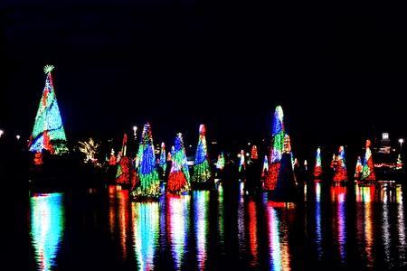 Orlando, Florida. November 22, 2018. Colorful illuminated Christmas trees and their reflection in the lake at Seaworld Theme Park.