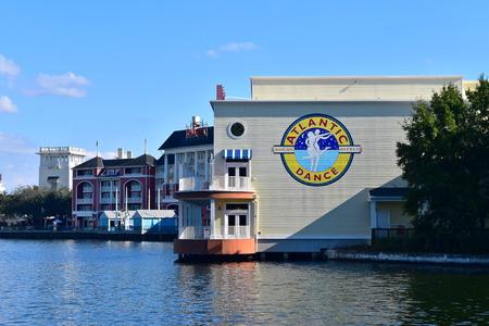 Orlando, Florida; November 02, 2018 Dance club and partial view of Dockside waterfront at Lake Buena Vista area.