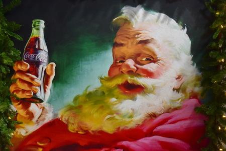 Orlando, Florida.; November 24, 2018. Vintage painting of Santa Claus in International Drive area.