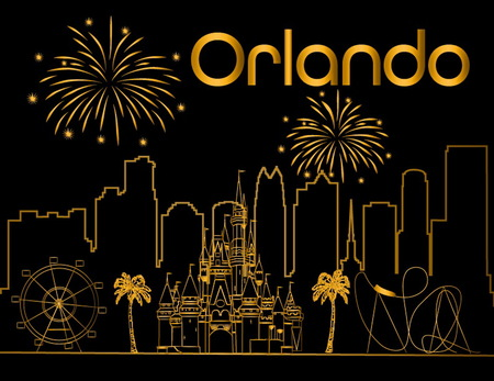 Orlando gold lettering on black backround. Vector with skyscraper, travel icons and fireworks. Travel Postcard. Stock Vector - 117617500
