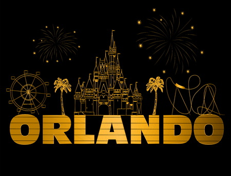 Orlando gold lettering on black backround. Vector with travel icons and fireworks. Travel Postcard. Stock Vector - 117617522