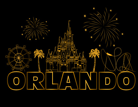 Orlando gold lettering on black backround. Vector with travel icons and fireworks. Travel Postcard. Stock Vector - 117617523