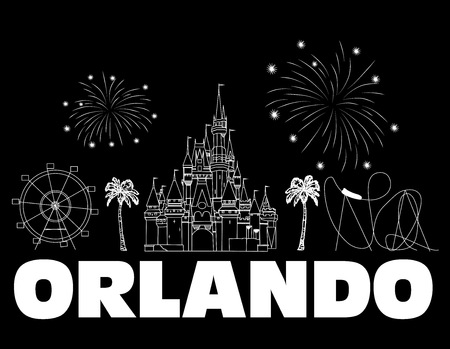 Orlando white lettering on black backround. Vector with travel icons and fireworks. Travel Postcard .. Stock Vector - 117617525