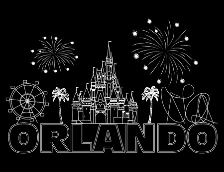 Orlando white lettering on black backround. Vector with travel icons and fireworks. Travel Postcard. Stock Vector - 117617524