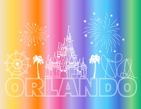 Orlando white lettering on colorful backround. Vector with travel icons and fireworks. Travel Postcard. Stock Vector - 117617526