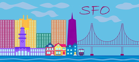 San Francisco red lettering. Vector with skyscrapers, colorful victorian style houses, cable car and golden gate bridge.