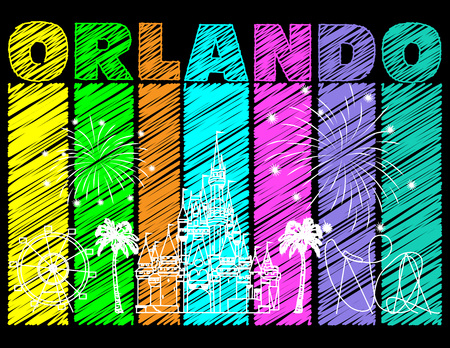 White Orlando design on colorful scribbled background. Vector with travel icons and fireworks. Travel postcard