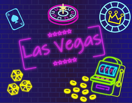 Las Vegas magenta lettering. Vector with casino icons on blue wall background