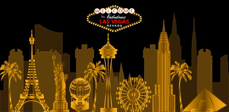 Lettrage rouge et blanc de Las Vegas. Vecteur avec des gratte-ciel, des icônes de voyage et des palmiers sur fond noir. Carte postale de voyage