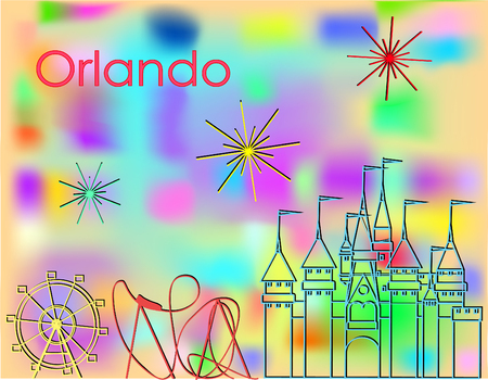 Orlando Icons multicolored line on abstract colorful background. Roller Coaster, Big Wheel, Castle and fireworks