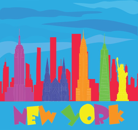 New York colorful lettering and travel icons on blue sky background. Travel Postcard.