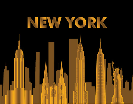 New York gold lettering. Vector with skycrapers and travel icons on black background. Travel card.
