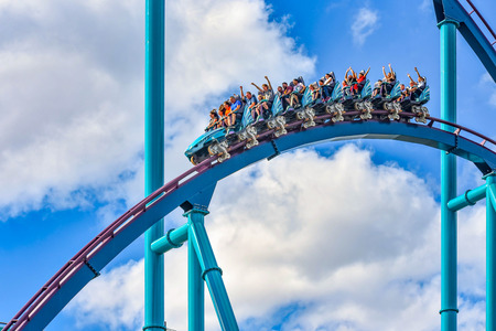 Orlando, Florida. December 26, 2018. People having fun extreme roller coaster ride. at Seaworld in International Drive area (2)