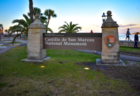 St. Augustine, Florida. January 26, 2019. San Marcos Castle Monument Sign at Old Town in Historic Floridas (71)