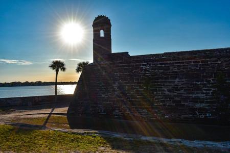 St. Augustine, Florida. January 26, 2019. San Marcos Castle on beautiful sunrise background in Floridas Historic Coast (6) Editorial
