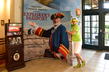 St. Augustine, Florida. January 26, 2019. Funny woman tourist guide in Visitor Information Center at Floridas Historic Coast (1)