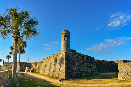 St. Augustine, Florida. January 26, 2019. Panoramic view of San Marcos Castle Fort at Old Town in Floridas Historic Coast