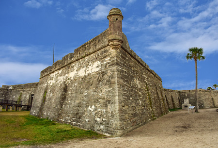 St. Augustine, Florida. January 26, 2019. Panoramic view of San Marcos Castle on lightblue background in Floridas Historic Coast (1)