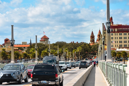 St. Augustine, Florida. January 26, 2019. Panoramic view of Constitution Square and historic buildings at Old Town in Floridas Historic Coast.