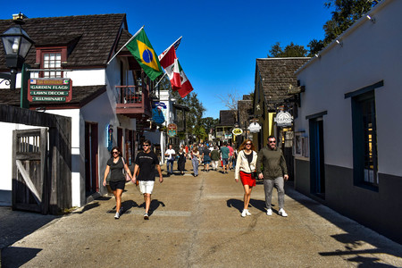 St. Augustine, Florida. January 26, 2019. People enjoying colonial experience in St. George St. in Old Town at Floridas Historic Coast (4)