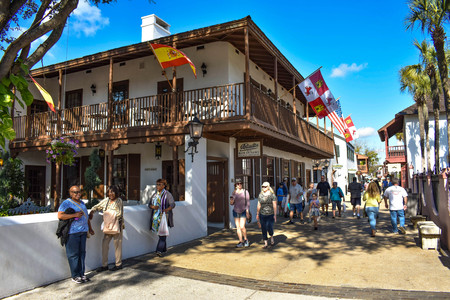 St. Augustine, Florida. January 26, 2019. People enjoying colonial experience in St. George St. in Old Town at Floridas Historic Coast (9)