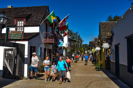 St. Augustine, Florida. January 26, 2019. People enjoying colonial experience in St. George St. in Old Town at Floridas Historic Coast (12)