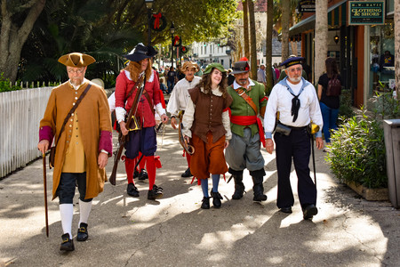 St. Augustine, Florida. January 26, 2019. People in 17th century clothing at Old Town in Floridas Historic Coast.